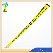 Printing Warning Slogan Logo Yellow Lanyard